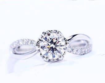 On sale! Split Shank Forever Classic Moissanite Engagement ring with natural diamonds in 14k white gold, Bridal Ring,Diamond Alternative