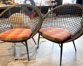 New Grey Rattan Lounge Chairs with Custom Plaid Wool Reversible Cushions