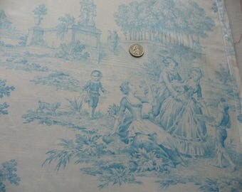 Vintage French toile fabric/ teal on white/french vintage fabric/country scenes