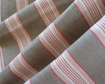 RESERVED SOLD RESERVED  Antique French ticking fabric/red and olive  stripe ticking/original antique french linen ticking / French textile