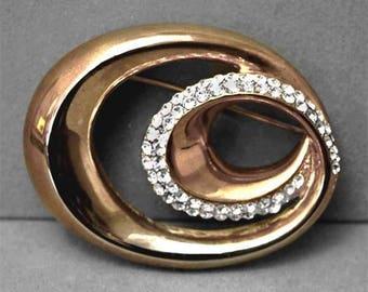 Vintage Gold Tone  Swarovski Crystal Swirl Brooch Pin