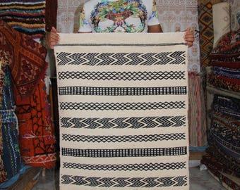 Berber Moroccan Black and White kilim