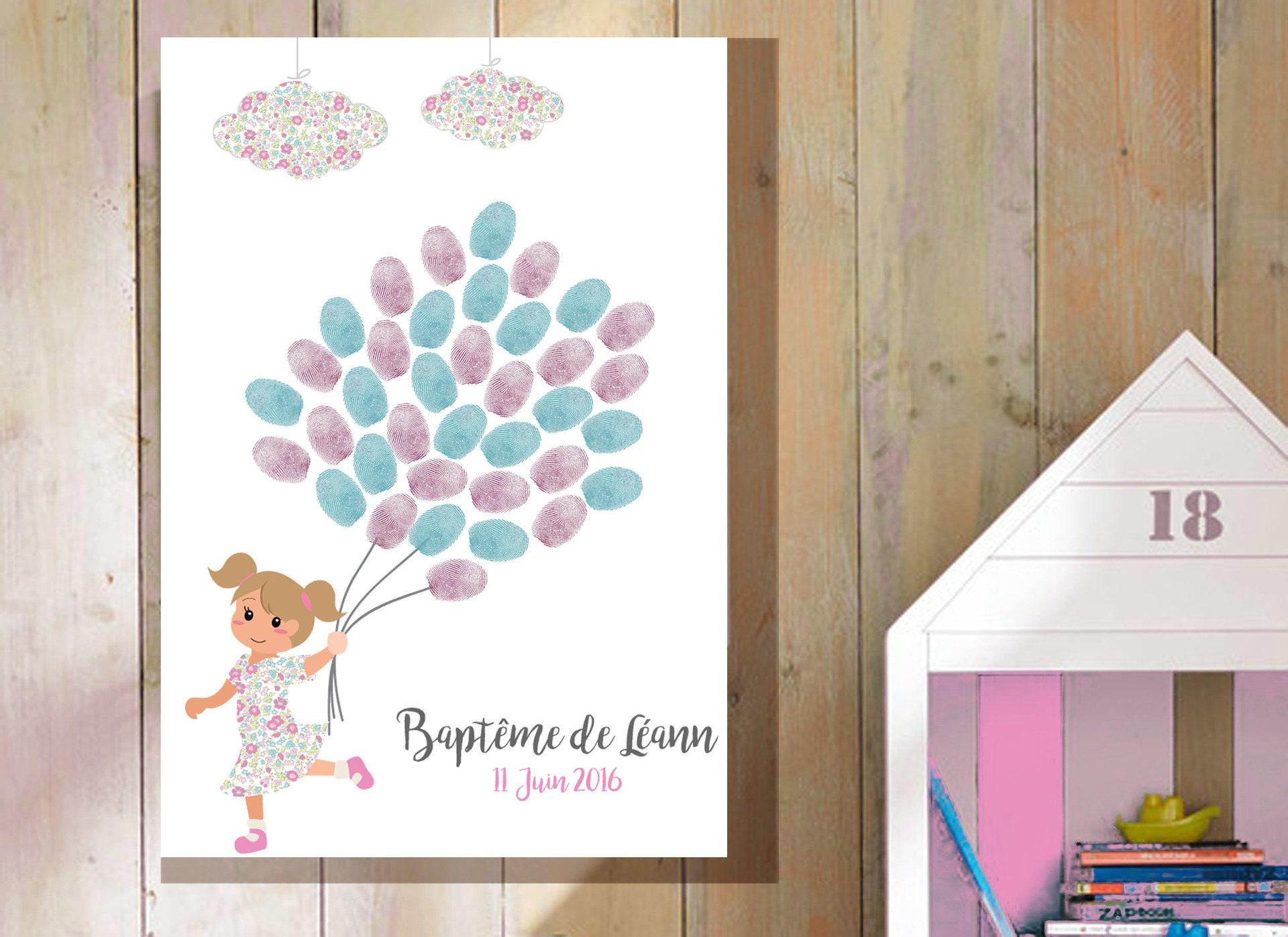 arbre empreintes bapt me petite fille couettes ch tain clair. Black Bedroom Furniture Sets. Home Design Ideas