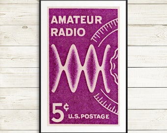 Large wall art: amateur radio, ham radio, ham radio operator, ham radio gifts, amateur radio gifts, retro poster art, amateur radio posters