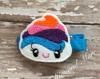Unicorn Poop Hair Clip / Embroidered Hair Bow / Girls Hair Accessory /Kawaii Feltie Hair Clip