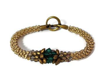 Green, Gold, Swarovski Crystal, Japanese, Kumihimo, Beaded, Bracelet, Handmade, Jewellery, Jewelry, Gift, Elegant