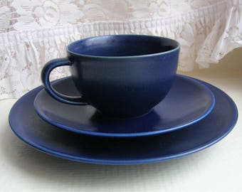 Arabia Finland: 24h Series A Set Of One Blue Coffee Cup,A Saucer And A Bread Plate, Designed By Heikki Orvola