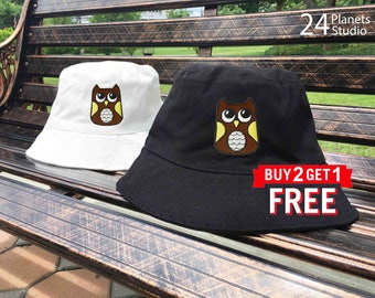 Owl Embroidered Bucket Hat by 24PlanetsStudio