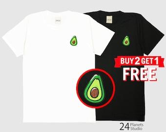 Avocado Embroidered T-Shirt by 24PlanetsStudio Pocket Tshirt Tumblr Tee Women Men Unisex