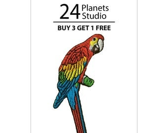 Macaw Parrot Bird Iron on Patch by 24PlanetsStudio