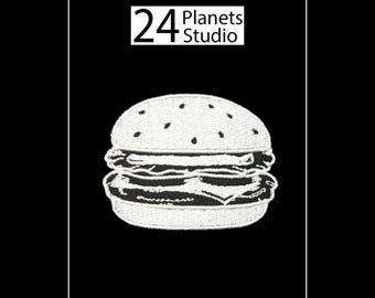 White Burger Hamburger Iron on Patch by 24PlanetsStudio