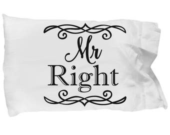 Set of 2 Pillowcases Mr. Right and Mr. Right Honeymoon Wedding Bedding Grooms Equality Wedding Present Party Anniversary Valentine's Day