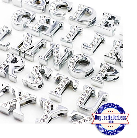 A-Z Rhinestone Silver Slide LETTERS for 8mm bracelets, chokers, collars, key rings, slider jewelry +FREE Shipping & Discounts*