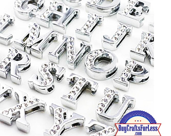 Featured listing image: 99cent Shipping*-Rhinestone Silver Slide LETTERS for 8mm bracelets, chokers, collars, key rings +49cent addt'l item & Discounts