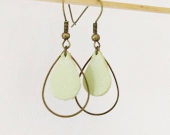 Leather earrings double drops iridescent pastel soft green