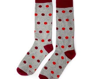 Groomsmen Red and Grey Polka Dot Socks/Wedding Day Socks/Groomsmen Gifts/Groomsmen Proposal Idea/Colorful Dress Socks