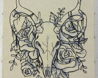Deer Skull and Roses Embroidered Wall Hanging