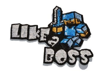 Minecraft style patch, Like A Boss patch, Embroidered patches iron on,  Clothing patches
