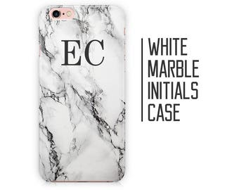 Customised White Marble Phone Case for iPhone X 8 Plus 7 6 6s 5 5s 5c SE + Samsung S6 S7 S8 Initials Custom Personalised