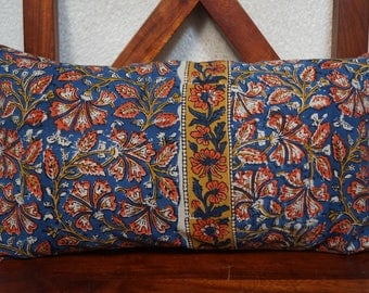 Golconda 1 blue series: cover 30x50cm (12 x 20 inches) cushion, cotton kalamkari Indian, floral, blue, ocher and orange background.