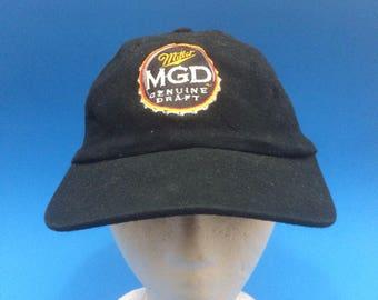 Vintage Miller Genuine Draft Strapback Hat Adjustable 1990s Beer Cold One dad cap