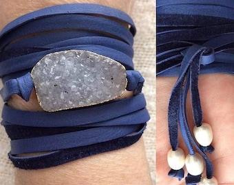 ThatsAWrap45. Druzy Pendant Wrap Bracelet w Blueish Purple | JMD Handmade w Love|
