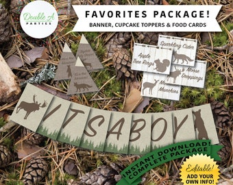 Party Printables Favourites Package - Adventure theme, Woodland baby shower, Mountain baby shower, Forest animals, Editable Party Printables