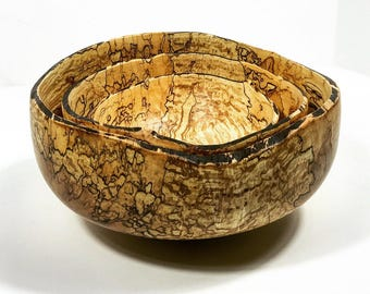 Spalted Maple Nested Bowl Set ~ Natural Edge