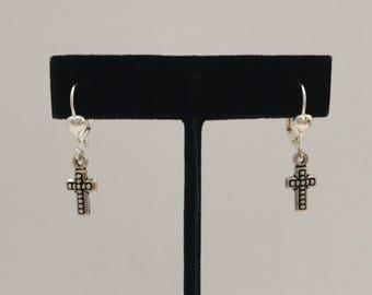 Cross earrings, silver cross earrings, tiny cross earrings