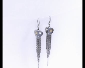 Finally Crafted Silver Hearts Earrings With Tassels And Clear Swarofski Crystals