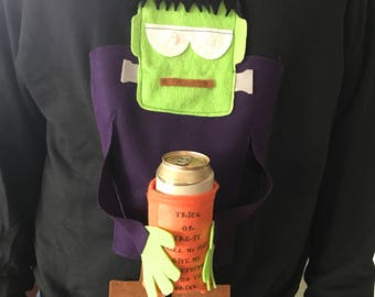 Halloween costume, frankenstein holding beer with lights, perfect for trick or treating with your children