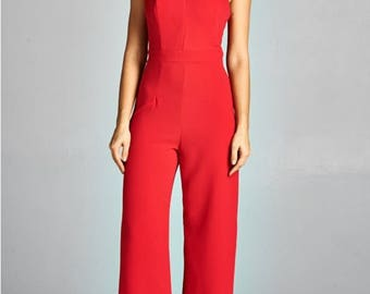 Women's Red Double Knit Criss Cross Halter Jumpsuit/Bridal Jumpsuit/Bridesmaid Jumpsuit/Party Jumpsuit/Plus Sizes/Wedding Jumpsuit