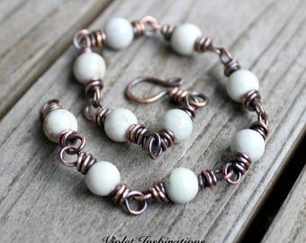 Magnesite and Copper Bracelet / Wire Wrapped Bracelet / Wire Wrapped Jewelry / Copper Bracelet / Copper Jewelry / White Bracelet