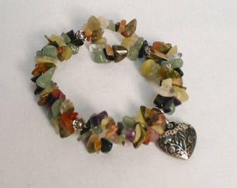 Stone chip bracelet, heart charm bracelet, stretch bracelet