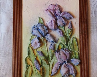 "Painting ""Iris"" , sculptural painting, painting with decorative plaster, barelief,unique gift"