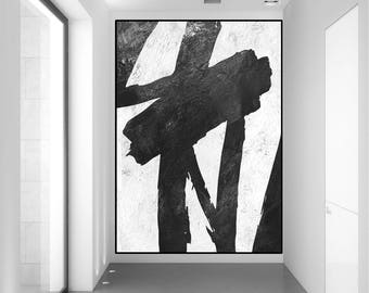 original abstract painting, large abstract art, black and white wall art  painting, extra