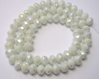 6x8mm White Beads White Electroplate Crystal Glass Faceted Rondelles 16 inch Strand 68 Beads 1mm Hole Size