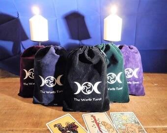 velvet lined tarot bag with satin lining