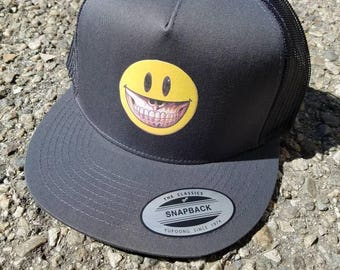 Smiley Mesh Trucker Snapback Hat