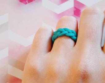 Blue Braided Ring