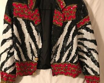 Cache Sequin Biker Jacket