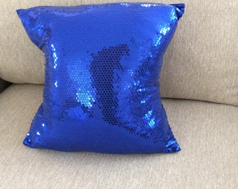 Blue Sequin Throw Pillow, 4th of July  Throw Pillow, Pillow Cover,Home Decor