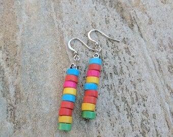 Earrings. Drop and dangle earrings. Fun earrings. Multi coloured earrings. Howlite earrings.