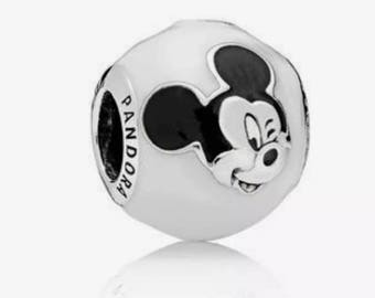 Disney Expessive Mickey Mouse White and Black Enamel Charm/Fully Stamped