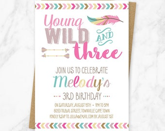 Young Wild and Three Invitation, Third Birthday, Girl Tribal Birthday, Wild and Three Birthday Invite, Tribal Birthday Invitation, Printable