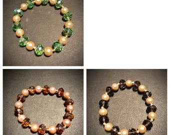 Elegant Crystal w/ Pearls Stretch Woman's Bracelet