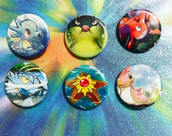 Choose Your Buttons - Set Of Six Water Type Pokemon Buttons!
