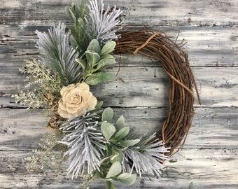 Christmas Wreath, Winter Wreath, Holiday Wreath, Christmas Decor, Winter Decor, Holiday Decor, Front Door Wreath, Farmhouse Decor, Wreath