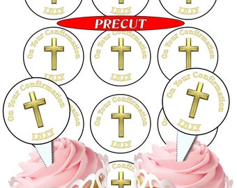 Confirmation Gold Personalised 50mm cupcake toppers, 4 choices