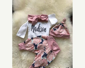 GET 20% OFF TODAY Newborn Girl coming home outfit,baby girl clothes, boho baby, baby clothes, baby girl, floral, personalized onesie